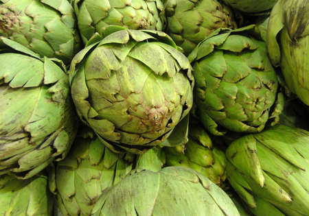 Pile of Artichoke on display at a store in San Francisco, CA  photo