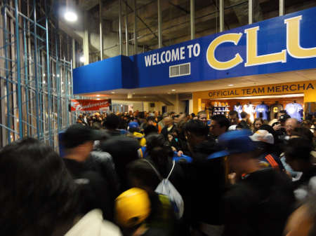 OAKLAND, CA - MARCH 11: Crowd of fans exit arena at Oracle Arena taken March 11, 2011 Oakland California. Stock Photo - 13574220