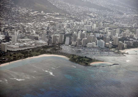 Ala Moana Beach Park and Cityscape of Honolulu on Oahu, Hawaii  photo