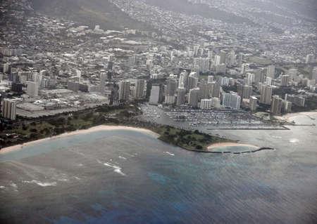 Ala Moana Beach Park and Cityscape of Honolulu on Oahu, Hawaii  photo