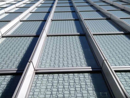 Modern Blue Windows with pattern on glass looking upward Stock Photo - 13900425