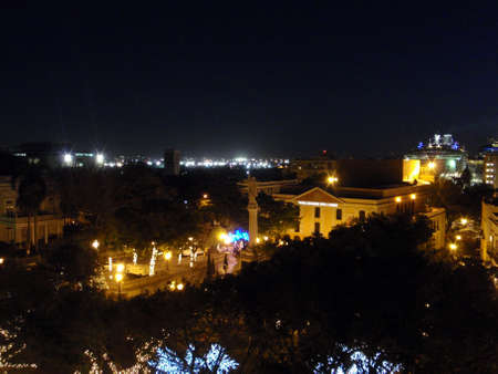 Old San Juan at Night in Puerto Rico with Cruise ships in the background