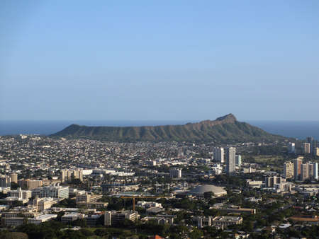 Diamondhead and the city of Honolulu of Oahu on a clear day. UH Manoa and the H-1 Visible  photo