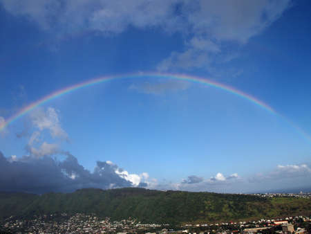 oahu: Rainbow over Manoa town on the island of Oahu.