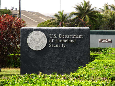 homeland: US Department of Homeland Security - Sign on Oahu, Hawaii.