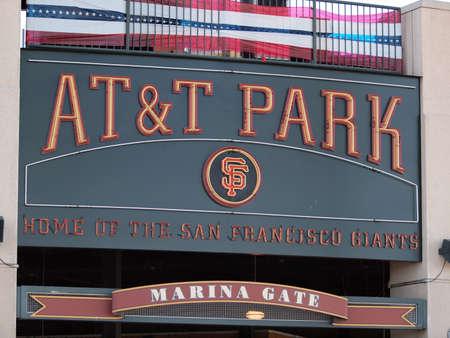 SAN FRANCISCO - OCTOBER 10: AT&T Park Home of the Giants - Sign taken on October 10 2010 at Att Park in San Francisco California. Stock Photo - 14338956