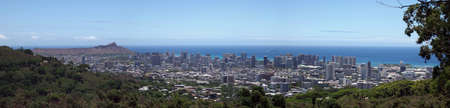 Honolulu Cityscape seen from Tantalus Mountian on Oahu, Hawaii. photo