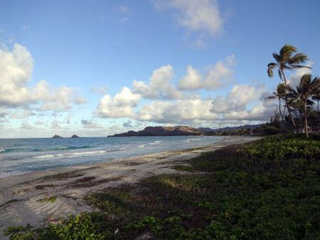 Beautiful Kailua Beach at the end of a day on Oahu, Hawaii