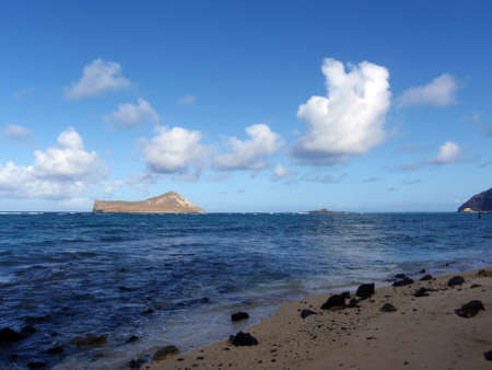 Waimanalo Beach on Oahu, Hawaii with Rabbit, Rock island, Makapuu point seen in the distance