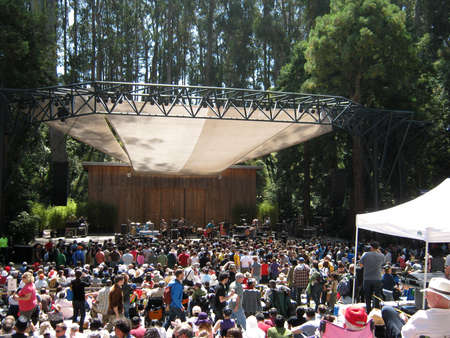 SAN FRANCISCO - AUGUST 22: 73rd Stern Grove Festival: Band Rogue Wave preforms on stage during the opening act to a large crowd at outdoor concert. August 22, 2010 in San Francisco CA.
