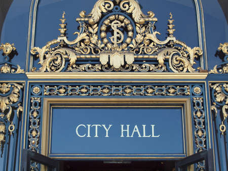 mayoral: City Hall Sign on front entrance of San Francisco City Hall