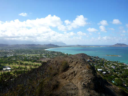 Mountain Trail leading to the town of Kailua on O photo