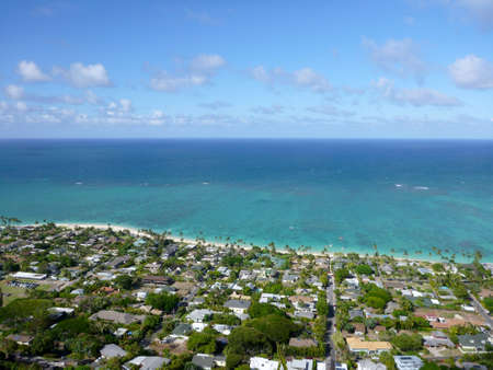 Lanikai town, beach, and Pacific Ocean on a beautiful day  photo