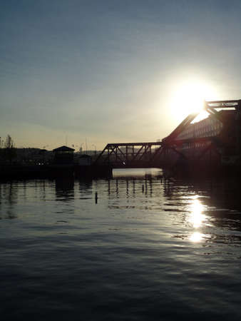 Sunset over Mission Creek, McCovey Cove, Tall building and 3rd Street Bridge in San Francisco, California Stock Photo - 18153303