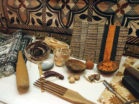 Display of Hawaiian Polyniasian Tapa clothes tools  Stock Photo - 18153928