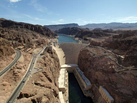 Breath taking Aerial view of the Colorado River, Hoover Dam, and road taken from bypass bridge on the border of Arizona and Nevada, USA Stock Photo - 18153944