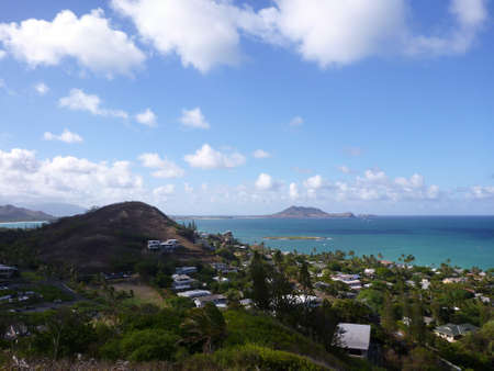 Lanikai and Kailua Bay from top mountain on Oahu, Hawaii