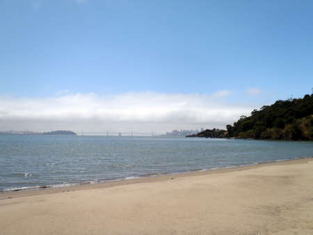 Quarry Beach on Angel Island with the Bay Bridge and San Francisco, California in the distance Stock Photo - 18153239