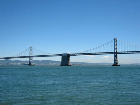 San Francisco side of Bay Bridge with Oakland in the distance on a clear day  Stock Photo - 18153351