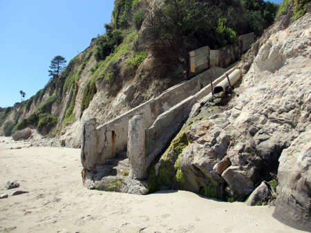 Well worn staircase in the side of mountain leading to the beach in Santa Barbara, California  Stock Photo - 18153983