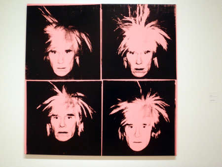 SAN FRANCISCO - JANUARY 25: Andy Warhol - Self-Portrait, c.1986 (Four Pink Andy Stock Photo - 18306241