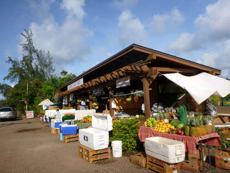 KAHUKU, HI - MAY 8: Kahuku Land Farms roadside shop sell friuts and veggies to people along the highway May 8, 2012 in Kahuku, Hawaii. Stock Photo - 18306247