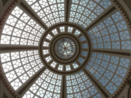 emporium: Looking upward at the inside of the Old Emporium dome in San Francisco, California.  It is a 102-foot-wide skylit dome built in 1908.