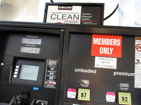 HONOLULU, HI - AUGUST 12: Costco Gas Pump Display in use featuring ethanol and a credit card reader August 12 2012 in Honolulu, Hawaii.