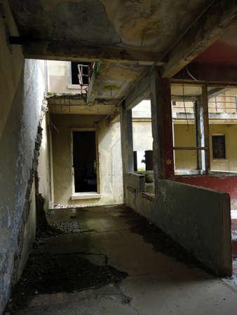 messy room: Inside a broken rundown military building on Angel Island in San Francisco bay, California.