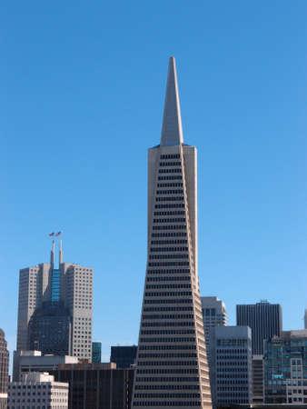 pyramid peak: Transamerica Pyramid and tall buildings of downtown of San Francisco City, California.  Editorial