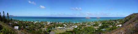 Lanikai Beach  and islands including the Mokulua Panoramic as seen from above in Kailua, O'ahu, Hawai'i photo