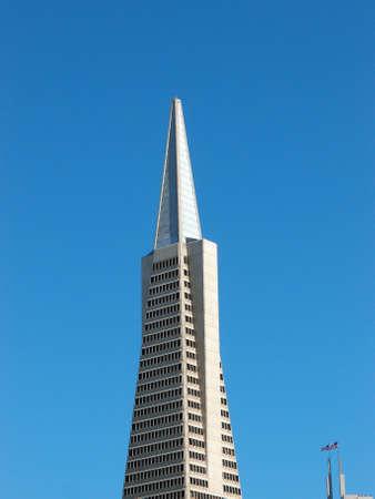 transamerica: Transamerica Pyramid againts a blue sky in San Francisco City, California.  Stock Photo