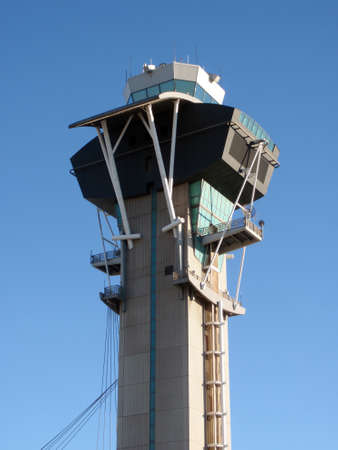Modern Aviation Watch Tower against a blue sky at LAX.