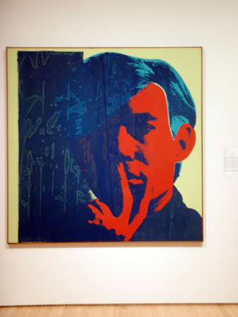 SAN FRANCISCO - JANUARY 25:  Screen Print Self-Portraits of of world famous artist Andy Warhol, painting | oil and silkscreen ink on canvas. Taken January 25, 2010 at the San Francisco Museum of Modern Art in California.