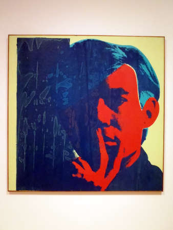 SAN FRANCISCO - NOVEMBER 19: World Famous Artist Andy Warhol Self Portrait painting | oil and silkscreen ink on canvas. Taken November 19, 2010 at the San Francisco Museum of Modern Art in California. Editoriali