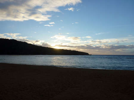 Sunrise over Hanauma Bay, beach and mountain. photo