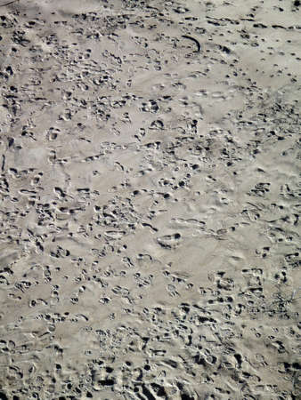 Lots of footprints in the sand on Ocean Beach in San Francisco, California.