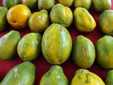 Rows of Hawaiian papayas on red cloth at a farmers market in Hawaii.