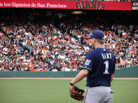 outfielders: Brewers vs. Giants: Number One, Brewers Corey Hart stands in the right field between baseball plays.  September 19 2010 at the ATT Park San Francisco California.