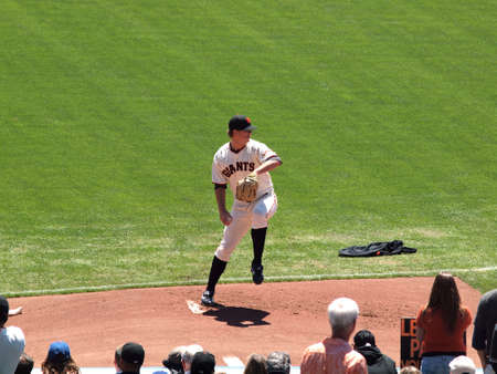 SAN FRANCISCO - AUGUST 12: Giants Pitch Matt Cain steps forward to throw pitch on the mound in the bullpen as he warms up before game ball can be seen in his hand. August 12 2010 at the ATT Park San Francisco California.