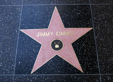 HOLLYWOOD - JANUARY 23: Jimmy Kimmel star on Hollywood Walk of Fame on January 23, 2014 in Hollywood, California. This star is located on Hollywood Blvd. and is one of 2400 celebrity stars.