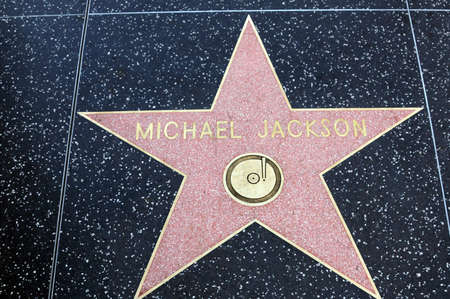 HOLLYWOOD, CALIFORNIA -  JANUARY 23: Michael Jackson Star on Hollywood Walk of Fame in Hollywood California on  January 23, 2014. One of the 2400 celebrity stars located on Hollywood Boulevard.