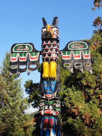 Totem pole outdoors in Oakland, California.