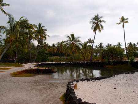 springwater: Heleipalala - Springwater and saltwater pond held fish to be eaten by the Hawaiian Royalty made with lava rocks and surrounded by coconut trees and sandy paths.  At Puuhonua o Honaunau - Place of Refuge, a National Historical Park on the Big Island in Ha