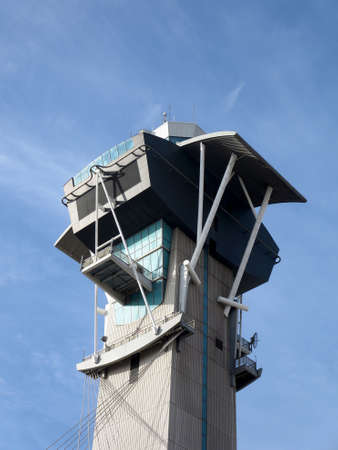 Modern Aviation Watch Tower against a blue sky at LAX. photo