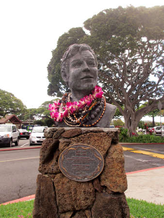 leis: HONOLULU, OAHU - FEBRUARY 10:  Jack Lord Statue covered in leis at Kahala Mall.  Artist, Actor and Philanthropist,  star of the legendary police drama Hawaii Five-0 on CBS-TV from 1968-1980.  By artist Lynn Weller Liverton.