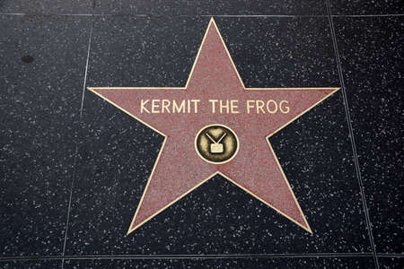 blvd: HOLLYWOOD - JANUARY 23: Kermit the Frog Hollywood Star of Fame on January 23, 2014 in Hollywood, California. This star is located on Hollywood Blvd. and is one of 2400 celebrity stars.