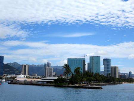 Kewalo Basin point and surrounding condos on a beautiful Oahu, Hawaii day. photo
