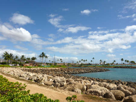 timeshare: Path and Harbor in resort community Ko Olina on the island of Oahu, Hawaii.