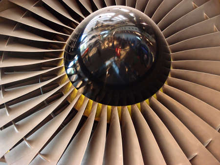 chamber of the engine: The turbine and blades of a jet engine.
